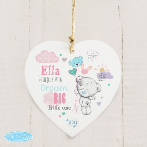 Personalised Tiny Tatty Teddy Bream Big Pink Wooden Heart Decoration